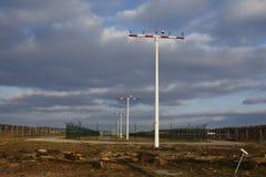 L'aéroport international de Francfort (FRA) - piste d'atterrissage s'allume Image libre de droits