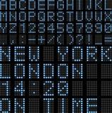 L'aéroport a mené le panneau d'affichage Image stock