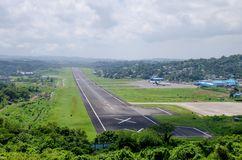 L'aéroport un paysage pour mettre en communication Blair India photo stock