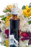 L'aérosol d'allergène peut et des fleurs Photographie stock