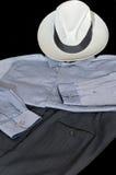 L'abbigliamento convenzionale degli uomini sul nero Fotografia Stock Libera da Diritti