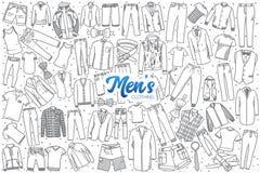 L'abbigliamento disegnato a mano del ` s degli uomini ha messo con iscrizione Fotografie Stock