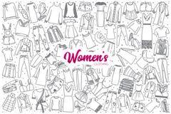 L'abbigliamento disegnato a mano del ` s delle donne ha messo con iscrizione Fotografia Stock Libera da Diritti