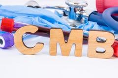 L'abbreviazione o l'acronimo di CMB, in laboratorio, scientifico, nella ricerca o nella pratica medica significa la chinasi della Fotografia Stock