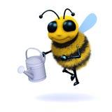 l'abeille 3d arrose les usines Image libre de droits