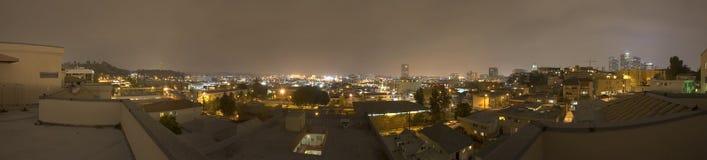 L.A. Abend-Skyline-Panorama Stockbild