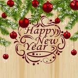 L'abete verde si ramifica con le palle rosse sui precedenti di legno Decorazioni di natale Simbolo di Natale Congratulazioni a illustrazione di stock