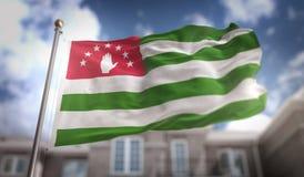 L'Abkhazia inbandiera la rappresentazione 3D sul fondo della costruzione del cielo blu Fotografia Stock