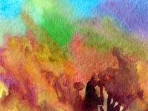 L'abrégé sur fond d'art d'aquarelle frotte l'imagination brouillée texturisée par automne chaud jaune brun de lavage humide d'arb Photos stock
