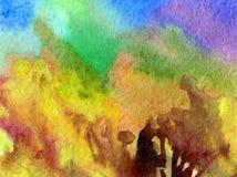 L'abrégé sur fond d'art d'aquarelle frotte l'imagination brouillée texturisée par automne chaud jaune brun de lavage humide d'arb Photo stock
