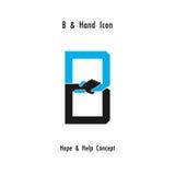 L'abrégé sur icône d'alphabet de b et l'icône créatifs de mains conçoivent le vecteur Photos stock