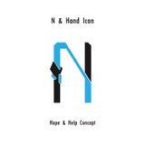 L'abrégé sur icône d'alphabet de n et l'icône créatifs de mains conçoivent le vecteur Photo libre de droits