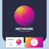 L'abrégé sur neurone a pointillé le logo de la lettre O de cercle ou le logotype de réseau illustration stock