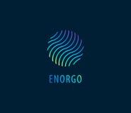L'abrégé sur vecteur ondule dans le logo coloré de cercle Énergie, l'eau illustration libre de droits