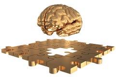 L'or absent de cerveau de morceau de puzzle Photos stock