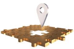 L'or absent local de morceau de puzzle Photo libre de droits