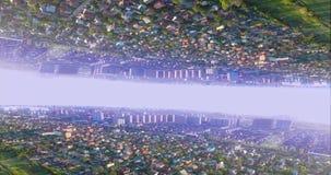 L'abstraction de la ville à l'envers Photo inversée Concept de ville d'imagination banque de vidéos
