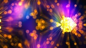 L'abstraction lumineuse brillante de boule d'énergie magique, se ferment vers le haut de la vue, 3d rendent le fond généré par or illustration de vecteur