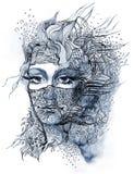 L'abstrait a décoré le visage Image libre de droits