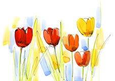 L'abstrait a peint le fond floral Image libre de droits