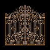 L'acciaio decorato gates l'illustrazione di vettore Dorato su fondo nero Fotografie Stock