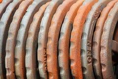 L'acciaio ha arrugginito volantini in magazzino Fotografie Stock Libere da Diritti