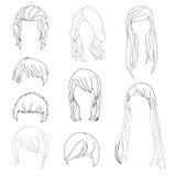 L'acconciatura della raccolta per il disegno dei capelli della donna e dell'uomo ha messo 1 Illustrazione di vettore Immagini Stock