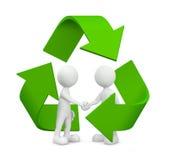 l'accordo di affari di verde 3D con ricicla il simbolo Fotografia Stock Libera da Diritti