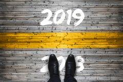 L'accueil 2019 - au revoir 2018 - commencez le concept photographie stock
