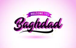 L'accueil de Bagdad à la police manuscrite des textes créatifs avec des couleurs roses pourpres conçoivent illustration de vecteur