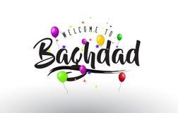 L'accueil de Bagdad à textoter avec les ballons colorés et les étoiles conçoivent illustration stock
