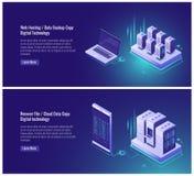 L'accueil de Web, copie de sauvegarde des données, récupèrent le concept de dossier, stockage de données de nuage, technologie nu illustration de vecteur