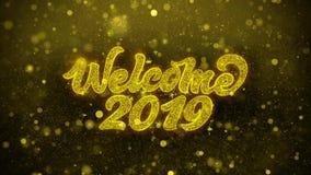 L'accueil 2019 souhaite la carte de voeux, invitation, feu d'artifice de célébration illustration stock