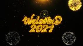 L'accueil 2021 souhaite la carte de voeux, invitation, feu d'artifice de célébration fait une boucle illustration stock