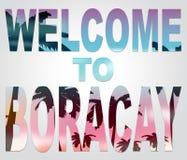 L'accueil vers Boracay signifie les vacances et l'île de plage Photos stock