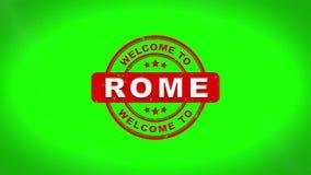 L'accueil vers Rome a signé emboutir l'animation en bois de timbre des textes illustration stock