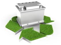L'accumulatore per di automobile con ricicla il segno Fotografia Stock