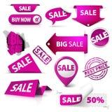 L'accumulazione della vendita viola ettichetta, contrassegni, bolli Fotografie Stock Libere da Diritti