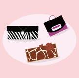 L'accumulazione delle donne adatta i sacchetti di mano Fotografia Stock