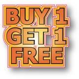 L'achat 1 obtiennent 1 libre Image stock