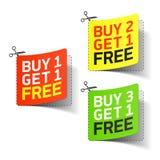 L'achat 1 obtiennent 1 bon promotionnel gratuit Images libres de droits