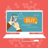 L'acheter maintenant d'achats d'Internet en ligne stockent le processus de commerce électronique Photos libres de droits