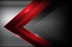 L'acier au chrome foncé et l'élément rouge de chevauchement soustraient le fond VE illustration de vecteur