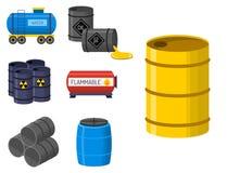L'acier de rangées d'entreposage en tonneau de carburant de récipient de bidons à pétrole barrels des réservoirs de capacité Photographie stock