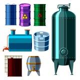 L'acier de rangées d'entreposage en tonneau de carburant de récipient de bidons à pétrole barrels des réservoirs de capacité Photo libre de droits