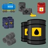 L'acier de rangées d'entreposage en tonneau de carburant de récipient de bidons à pétrole barrels le vecteur chimique de navire e Image stock