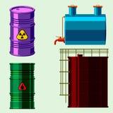 L'acier de rangées d'entreposage en tonneau de carburant de récipient de bidons à pétrole barrels le vecteur chimique de navire e Photographie stock libre de droits