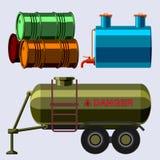 L'acier de rangées d'entreposage en tonneau de carburant de récipient de bidons à pétrole barrels le vecteur chimique de navire e Photo libre de droits