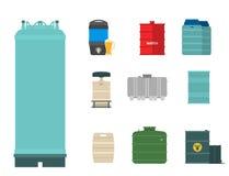 L'acier de rangées d'entreposage en tonneau de carburant de récipient de bidons à pétrole barrels le vecteur chimique de navire d Photo stock