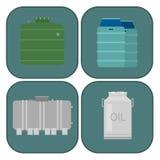 L'acier de rangées d'entreposage en tonneau de carburant de récipient de bidons à pétrole barrels le vecteur chimique de navire d Photographie stock